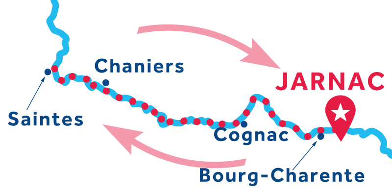 Jarnac RETURN via Cognac & Saintes