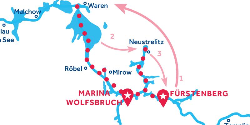 Fürstenberg ALLER-RETOUR via Waren & Neustrelitz