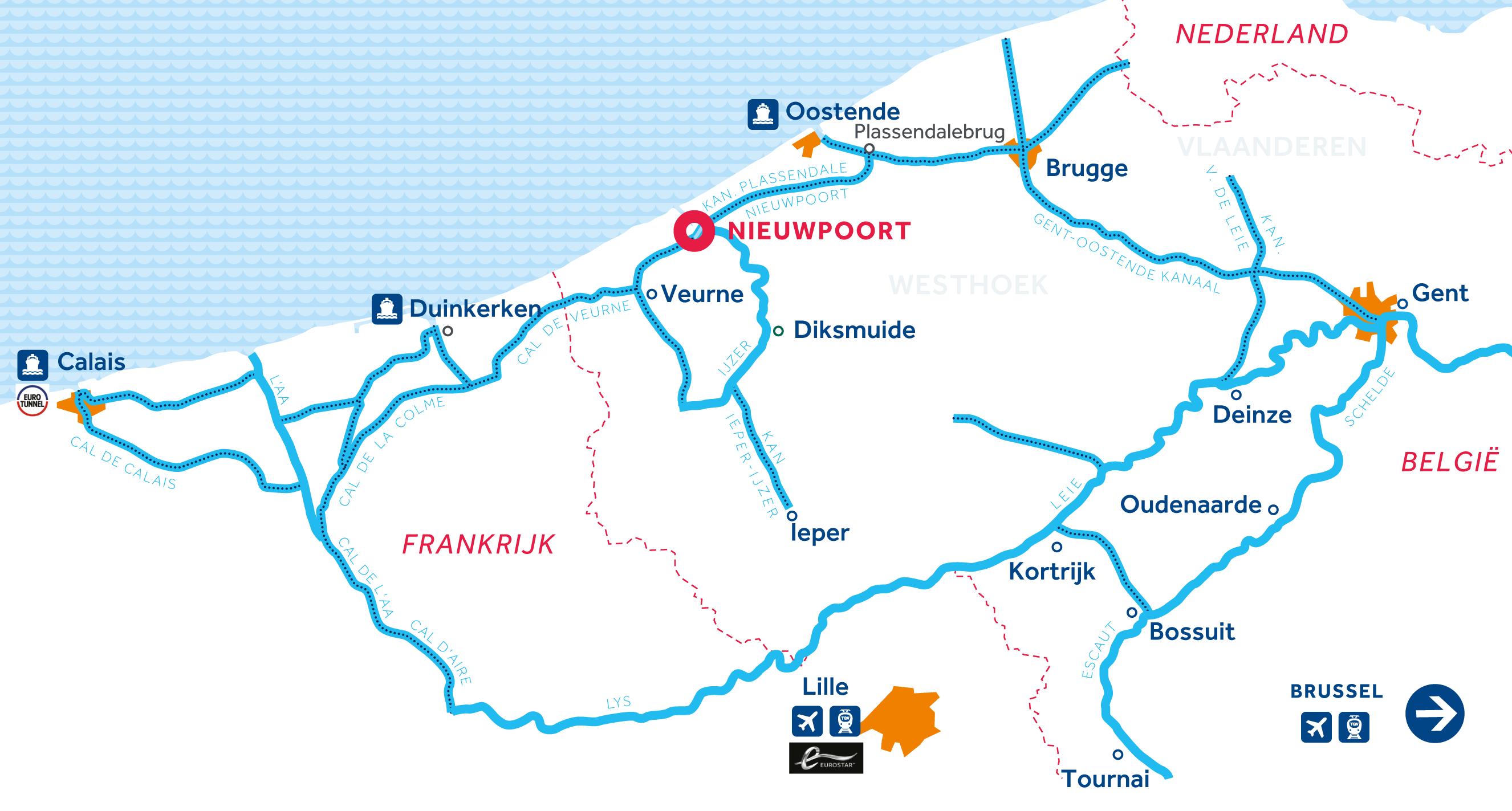 Kaart van de vaarregio: Vlaanderen