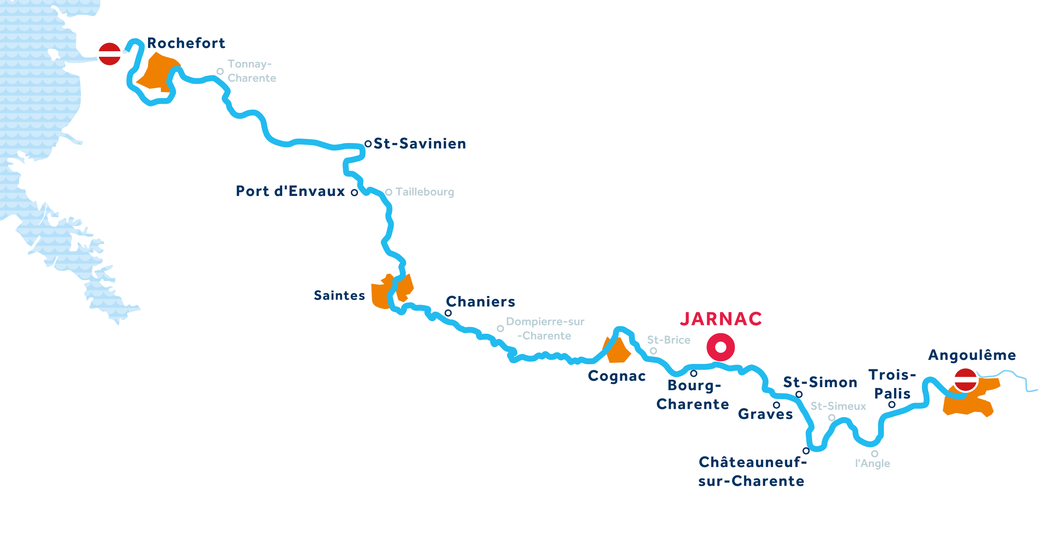 Kaart van de vaarregio: Charente