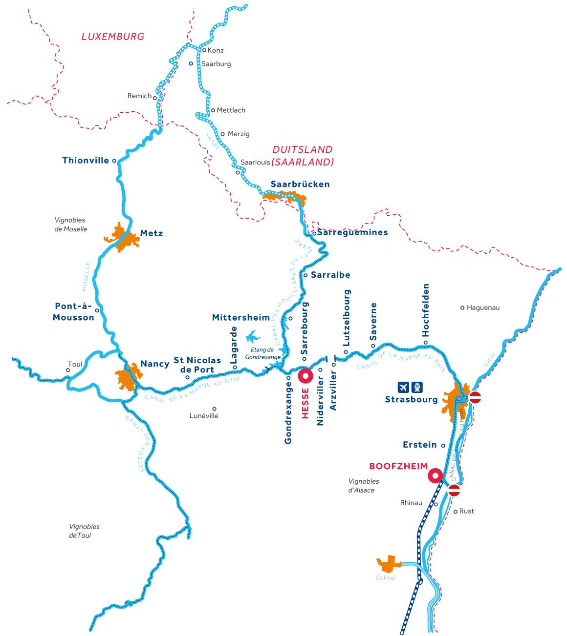 Kaart van de vaarregio: Elzas-Lotharingen