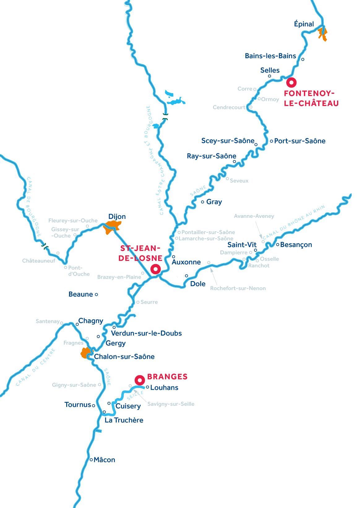 Kaart van de vaarregio: Bourgondië: Franche-Comté