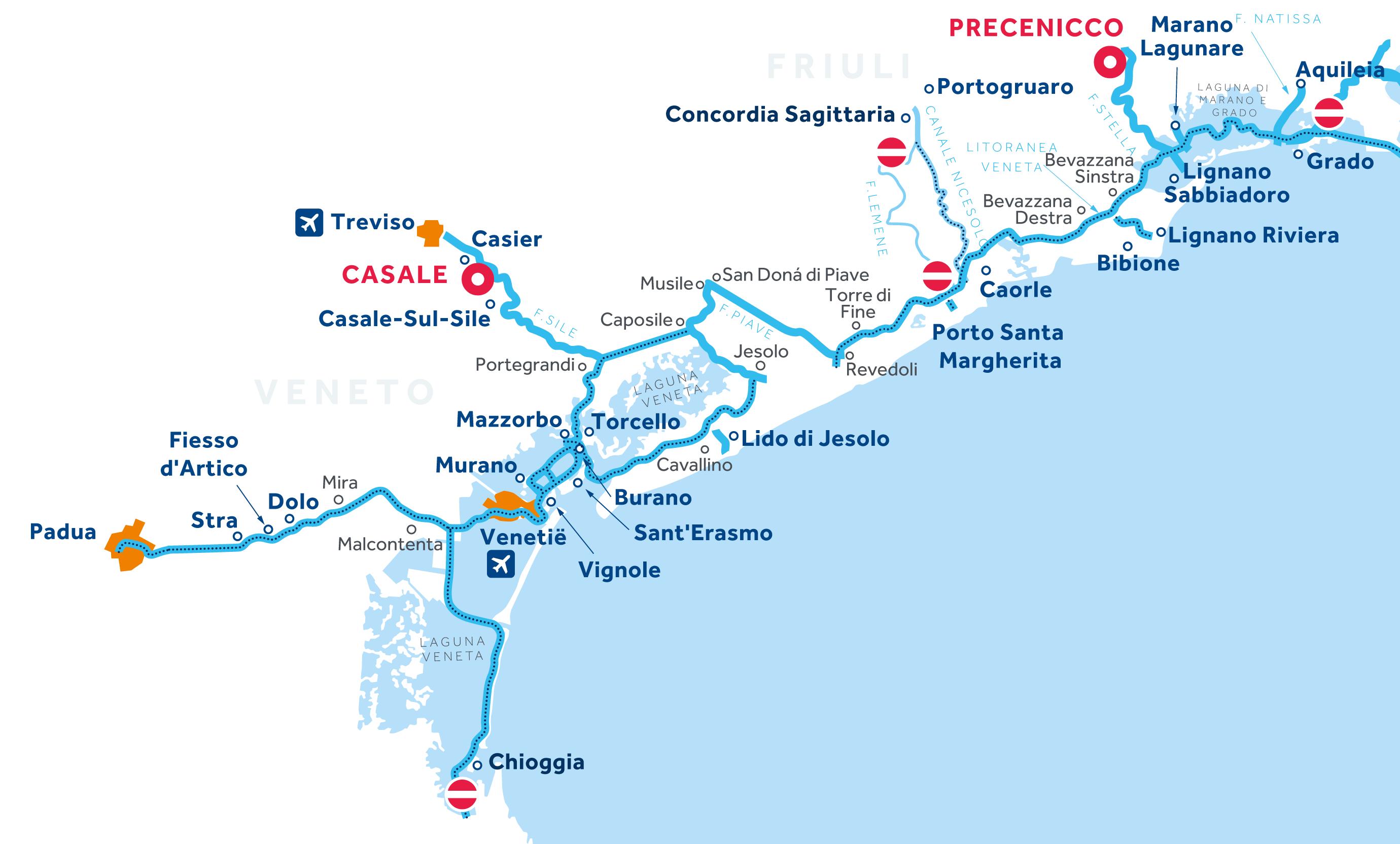 Kaart van de vaarregio: Venetië en Friuli
