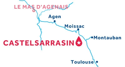 Carte de situation de la base de Castelsarrasin