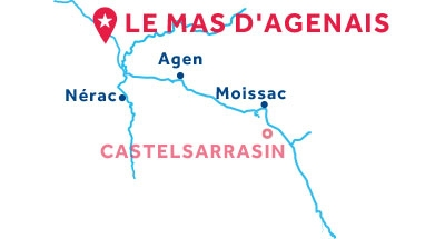 Carte de situation de la base du Mas d'Agenais