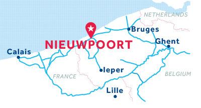Carte de situation de la base de Nieuport