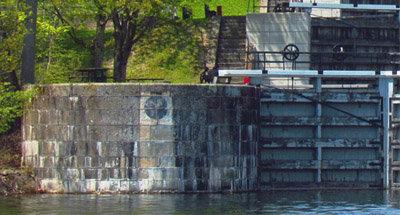 Cut-off shot of Jones Falls on the Rideau Canal