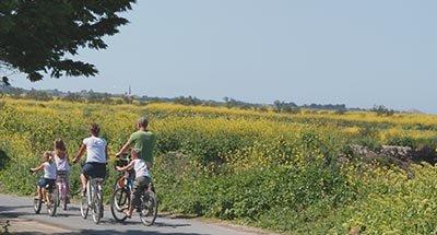 Een familie op de fiets in Charente