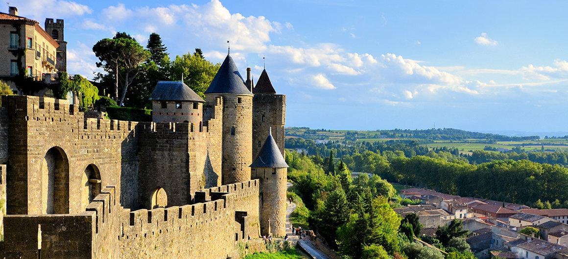 Uitzicht over Carcassonne, Canal du Midi