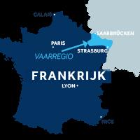 De kaart laat zien waar vaargebied Elzas ligt in Frankrijk