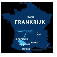 De kaart laat zien waar vaargebied Aquitanië ligt in Frankrijk