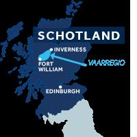 Die kaart laat zien waar het Caledonische Kanaal zich in Schotland bevindt
