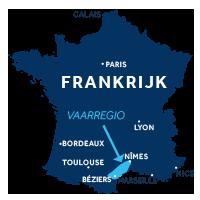 De kaart laat zien waar vaargebied De Camargue ligt in Frankrijk