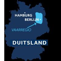 De kaart laat zien waar vaargebied Mecklenburg en Brandenburg ligt in Duitsland