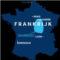 De kaart laat zien waar vaargebied Nivernais & Loire ligt in Frankrijk
