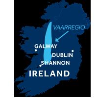 De kaart laat waar de Shannon & Erne vaarregio in Ierland zich bevindt