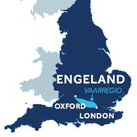 De kaart laat zien waar de Theems zicht in Engeland bevindt.