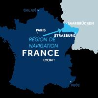 Carte indiquant la zone de navigation en Alsace en France