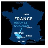 Carte indiquant la zone de navigation en Aquitaine en France