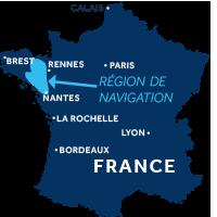 Carte indiquant la zone de navigation en Bretagne, France